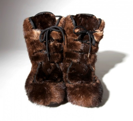 natural brown otter fur boots