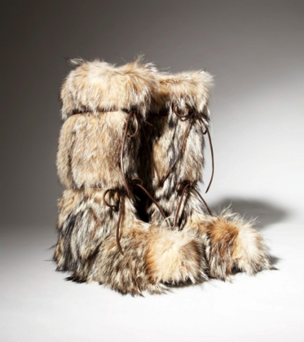 silver and tan natural fur boots