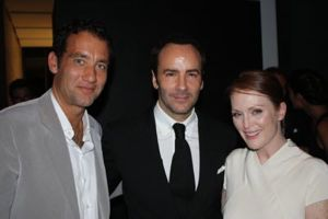 """A Single Man"" director Tom Ford (center) with Clive Owen and Julianne Moore. Photo by Brian Brooks/indieWIRE"